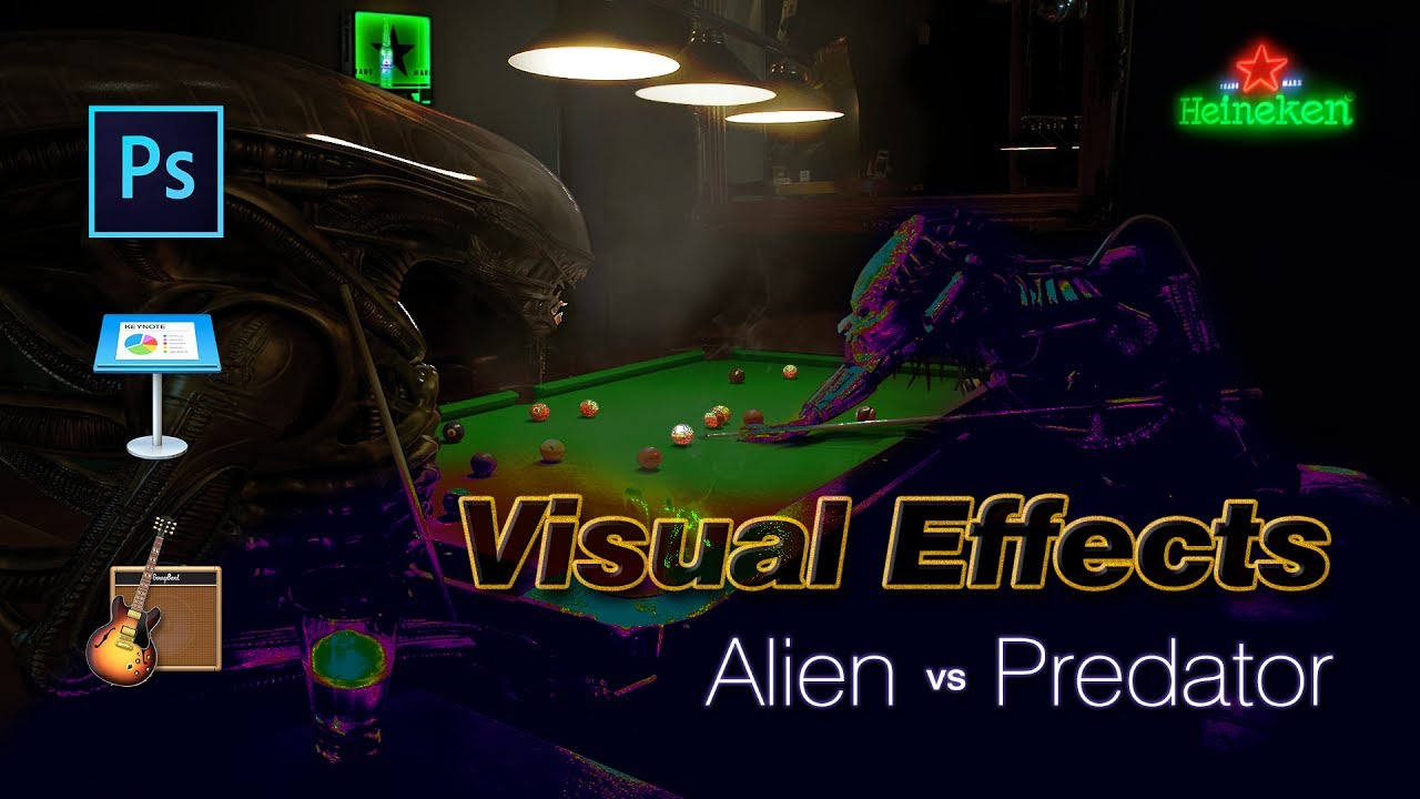 Alien vs predator playing pool