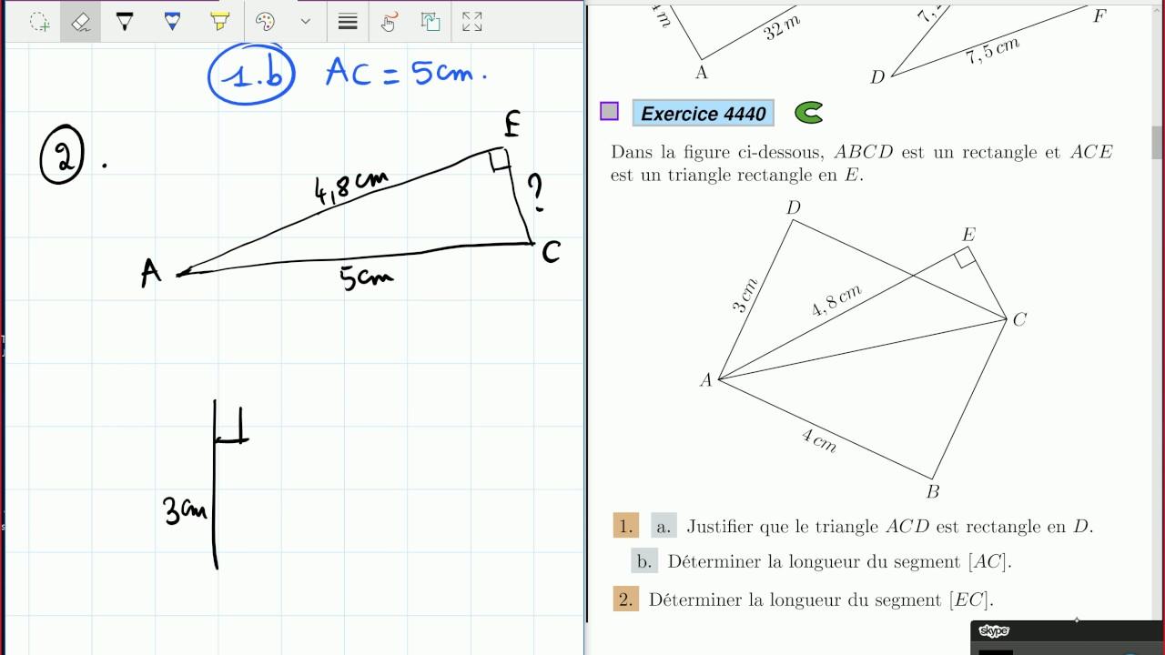Le théorème de Pythagore - 4ème - exercices corrigés. - YouTube