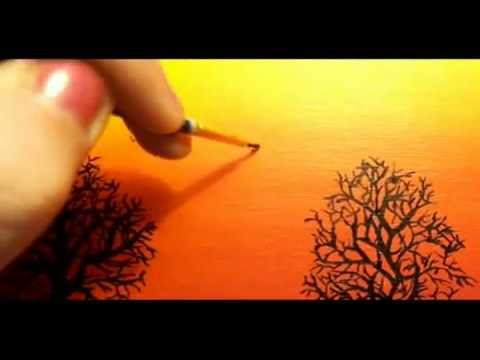 Sunset In Acrylic Paint Youtube