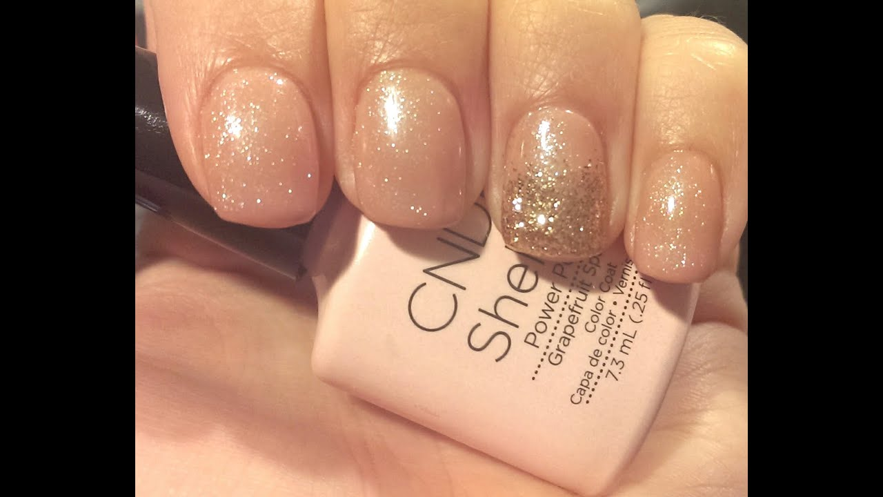 shellac pink nude glitter nail tutorial   youtube