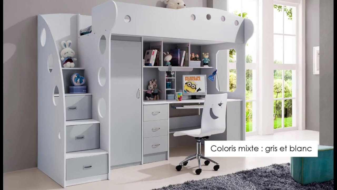 Lit mezzanine enfant gris blanc mae youtube for Lit mezzanine enfant