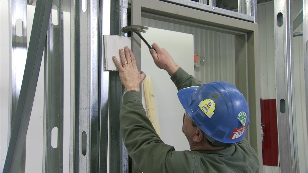 how to install a steel door frame in steel stud construction youtube - Metal Wall Framing