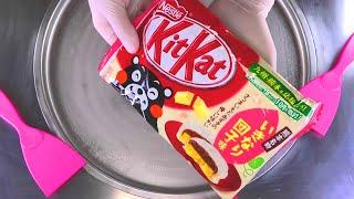 Ice Cream Rolls  fried rolled Ice Cream with Japanese KitKat Chocolate Bar  satisfying Food ASMR