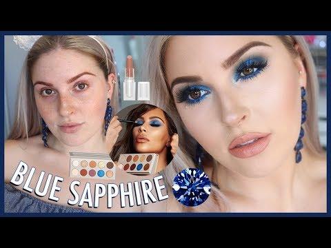 KKW x MARIO COLLECTION 💎 Sapphire Blue Smokey Eye Makeup Tutorial! - 동영상