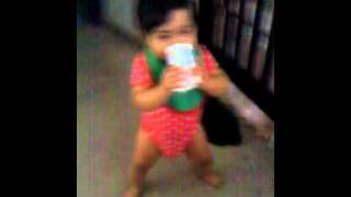 baby Ariah taking her first steps