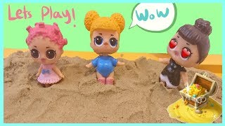 Dolls Playing in sand and they found a TREASURE! and other fun stuff