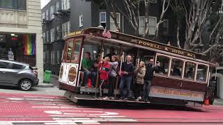 Powell-Hyde Cable Car 1 @ Powell St & Bush St San Francisco California (Slow Motion)