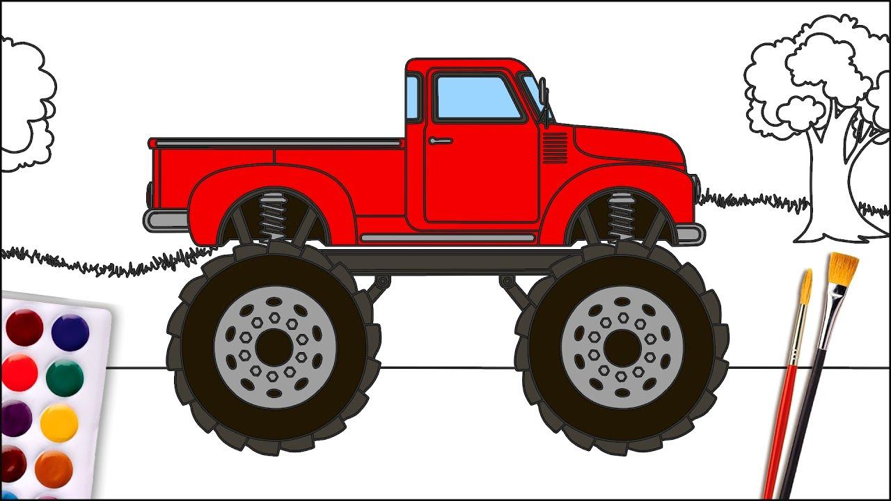 Раскраска машинки Монстр Трак для детей - YouTube