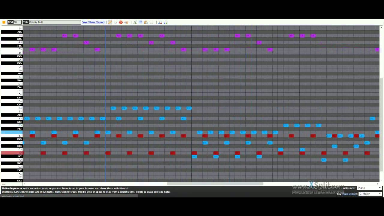 gravity falls theme song online sequencer youtube