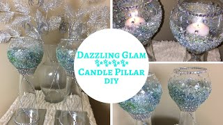 💎 Glam DIY Glass Candle Holder Pillars | Mardi Gras Inspired 💎