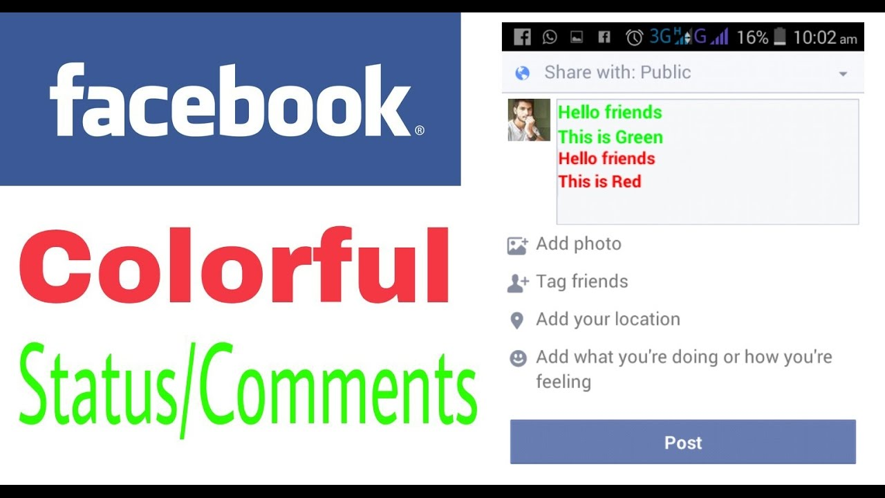 How to write colorful text on facebook - YouTube