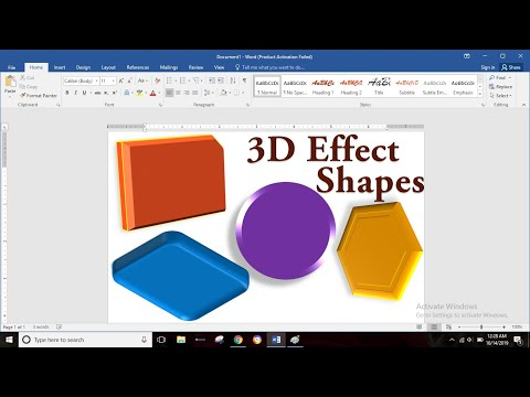 3D Effect Shapes,3D Rotation Shapes in MS Word in Hindi | MS Word 2016 | Part-76