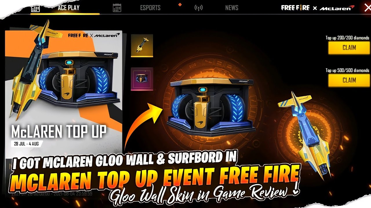 McLaren Top Up Event Free Fire    Lena Chahiye Ki Nahi ? 🤔 Victory Charge Gloo Wall Review !