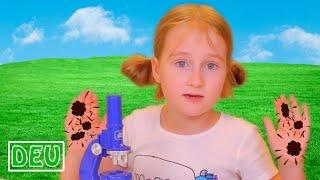 Annie als Forscherin sucht nach Schätzen