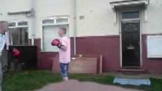 bobby sparing in the garden