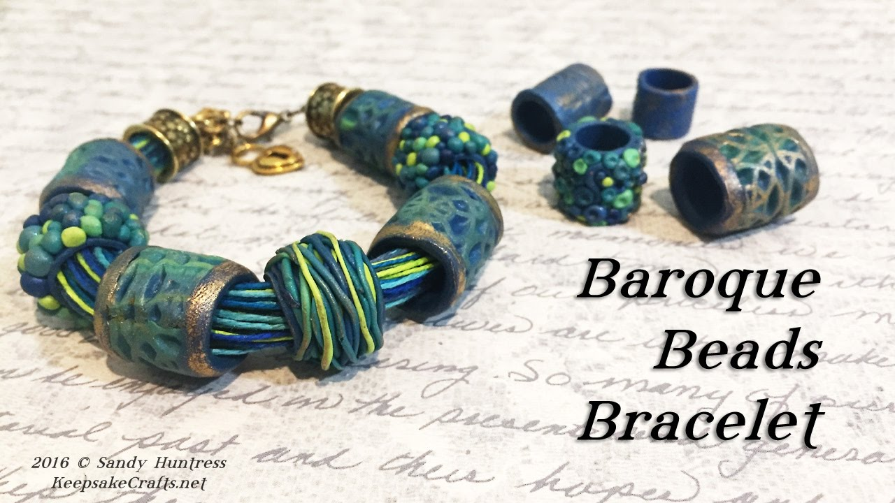 baroque beads bracelet polymer clay jewelry tutorial youtube