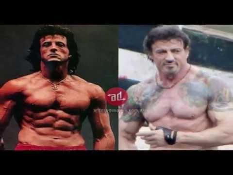 Antes e depois de Famosos Musculosos