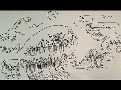 Pen ink drawing tutorials how to draw ocean waves of a seascape