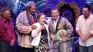 JULIO CESAR CHAVEZ REUNITED WITH OLD FOES AS MOM SURPRISES HIM W/WBC MAYAN BELT DURING CEREMONY