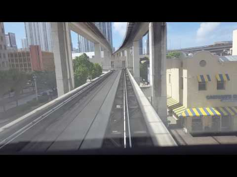 Miami Metromover Omni loop ride in downtown at Government Center