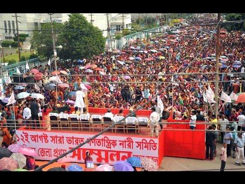 CM Manik Sarkar addressing AIDWA convention at Agartala in front of Rabindra Shatabarshiki Bhawan