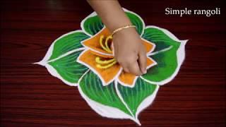 Simple Color Kolam fro Beginners | Easy Muggulu rangoli design with dots