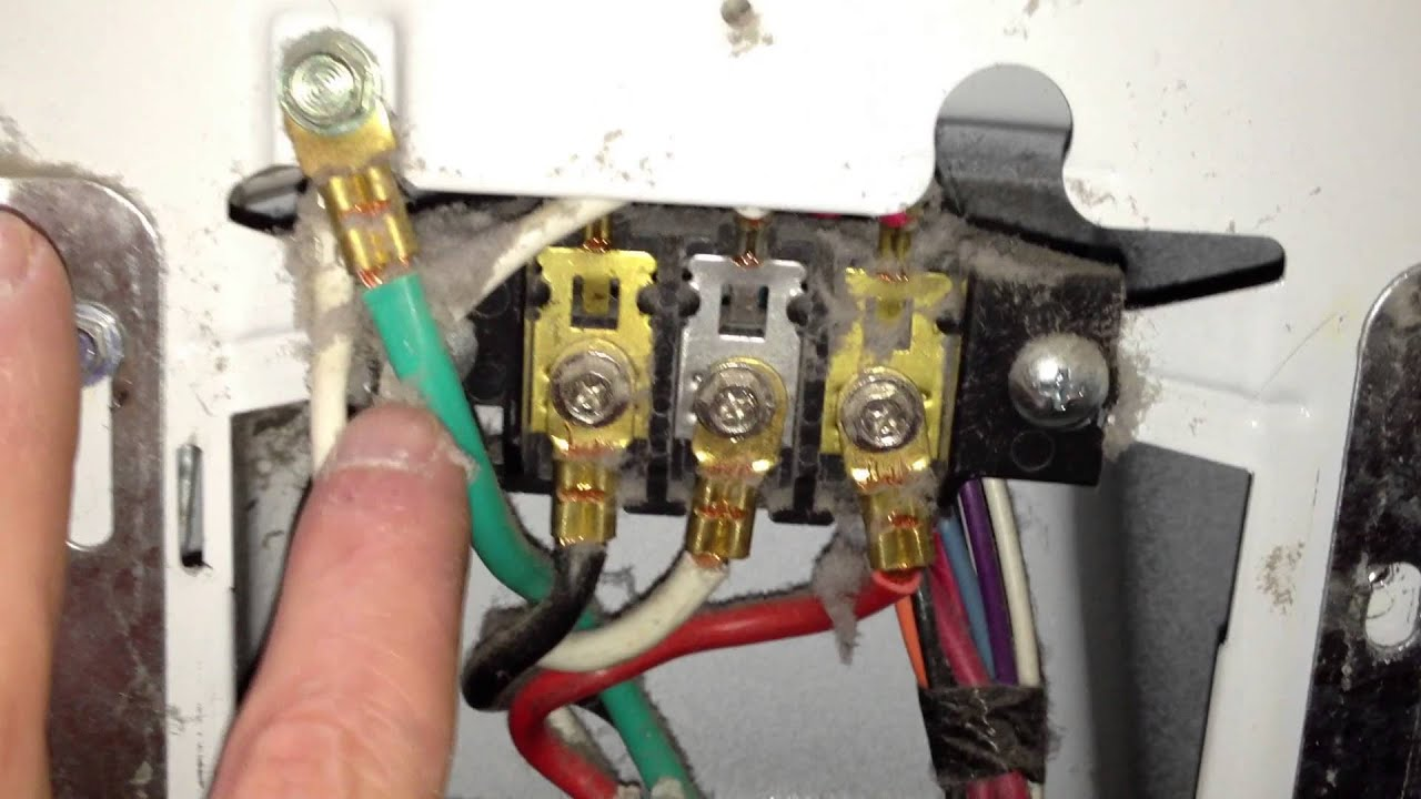 how to correctly wire a 4 wire cord in an electric dryer terminal rh youtube com Four-Wire Dryer Plug Electric Dryer Receptacle Wiring-Diagram