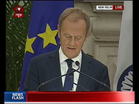 PM Modi and President of the European Council Donald Tusk at Joint Press Statements