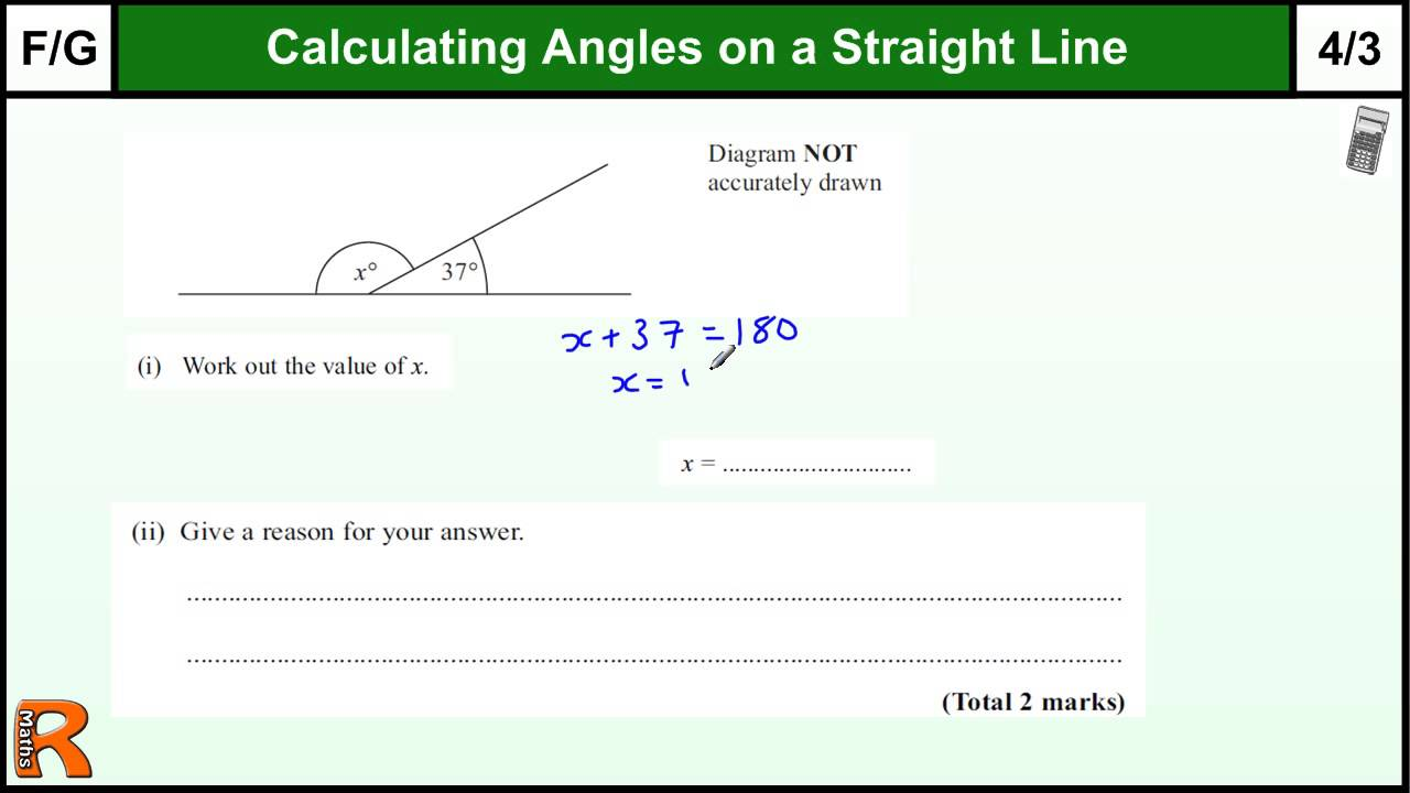Angles on a Straight line GCSE Maths Foundation revision Exam paper  practice & help