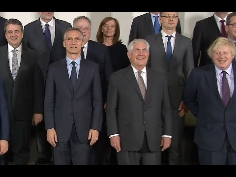Tillerson Poses With Other NATO Members In Brussels