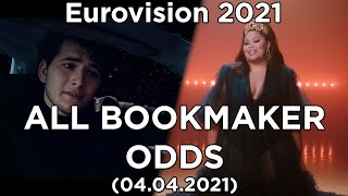 Eurovision 2021 - Top 39 by odds (on 04.04.2021) winning, top 3, top 10 and semi final chances