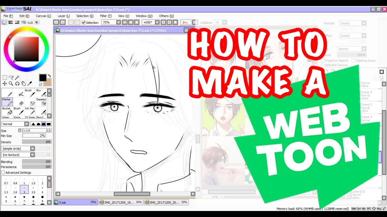 How to make a webtoon | with Paint tool SAI and PS