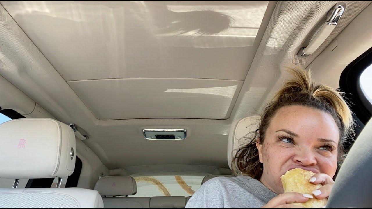 fat. ugly. eating breakfast burrito in my rolls royce tho