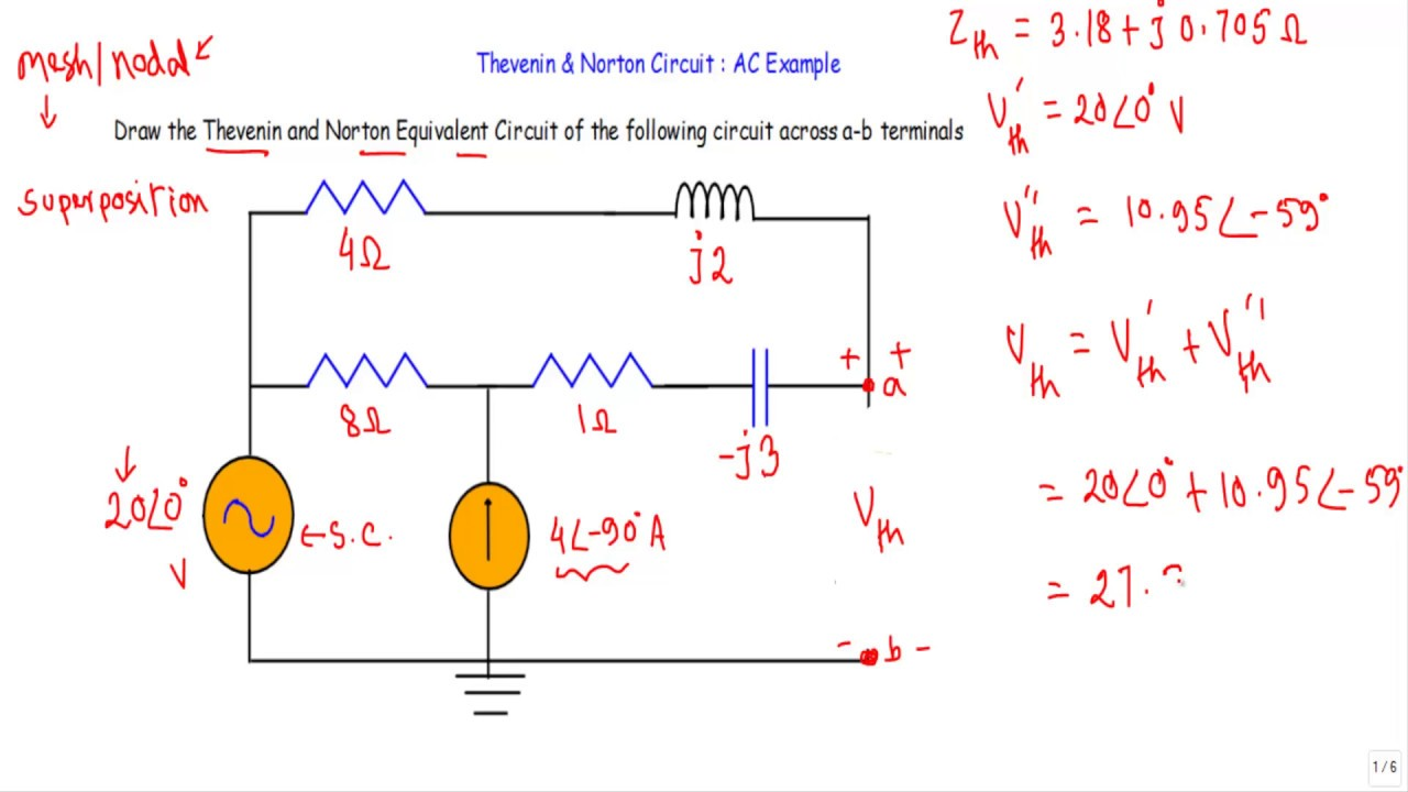 Ac Example Thevenin And Norton Circuit Youtube