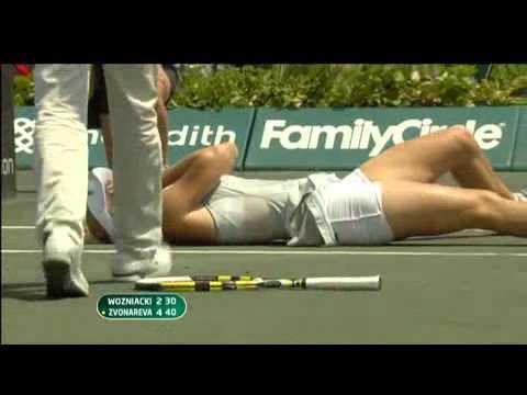 Caroline Wozniacki ankle injury - Charleston 2010