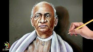 सरदार पटेल  की लाजवाब ड्राइंग | Realistic Drawing Of Sardar Vallabhbhai Patel