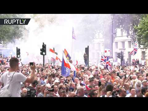 RAW: Clashes erupt at 'free Tommy Robinson' march in London