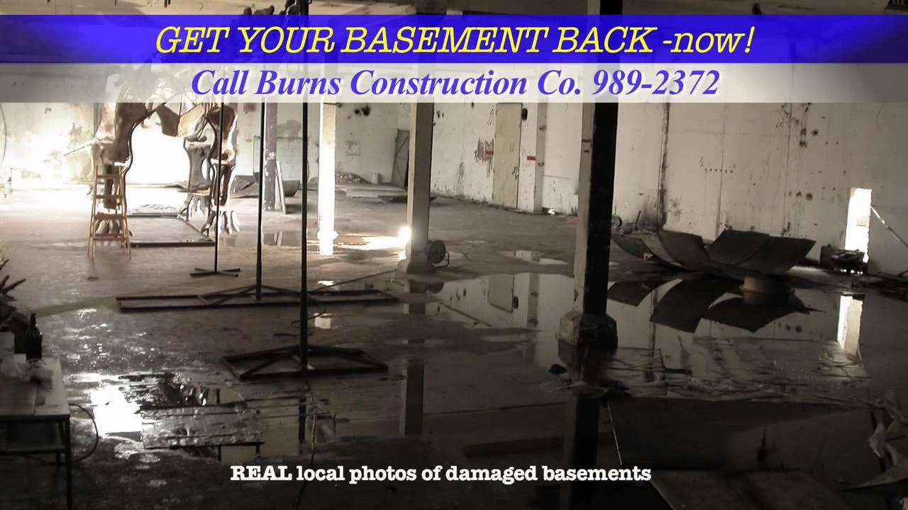 burns construction company wet basement youtube