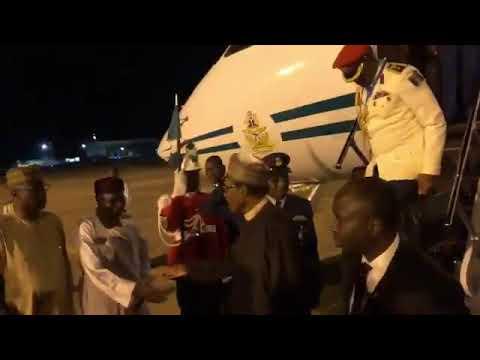 President Buhari Returns To Nigeria From London (Watch Video)