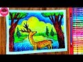 How to draw a deer in the forest scene step by step (very easy)