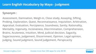 Learn English Vocabulary by Maya - Judgment