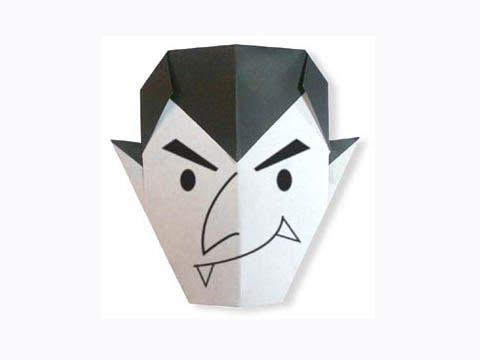 Cách gấp, xếp mặt ác quỷ Dracula Halloween bằng giấy origami - Video hướng dẫn xếp hình