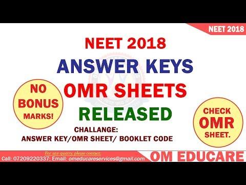 NEET 2018 ANSWER KEY RELEASED | OMR SHEET RELEASED | NO BONUS MARKS AWARDED