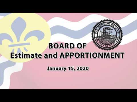 BOARD OF ESTIMATE AND APPORTIONMENT  January 15, 2020