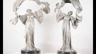 Art Nouveau Bronze Table Lamps Figurine By Loie Fuller