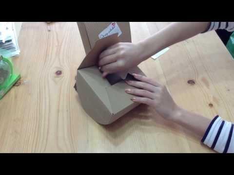 วิธีพับ กล่อง Lunch Box กระดาษลูกฟูกน้ำตาล 15x15