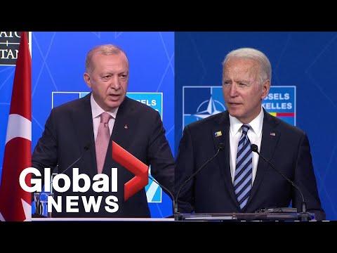 Biden, Turkey's Erdogan meet for 1st time in Brussels to discuss bilateral relations