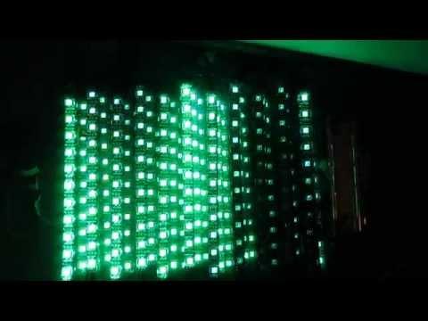 overlapping transparent led panels 3d effect test