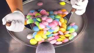 ASMR - crushing colorful Candy to Ice Cream Rolls | oddly satisfying Food - crackling & scratching
