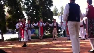 Romanian dancers dressed in traditional costumes in Medgidia